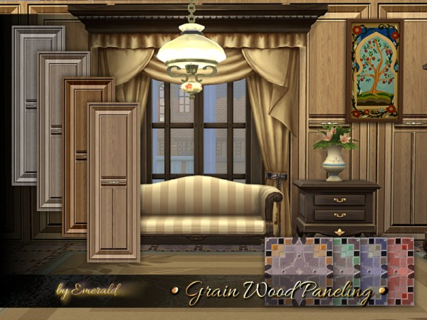 The Sims Resource: Grain Wood Paneling by emerald