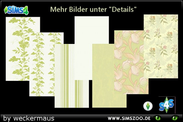 Blackys Sims 4 Zoo: Green flowers walls by weckermaus