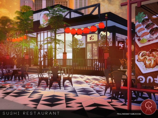 The Sims Resource Sushi Restaurant By Pralinesims Sims