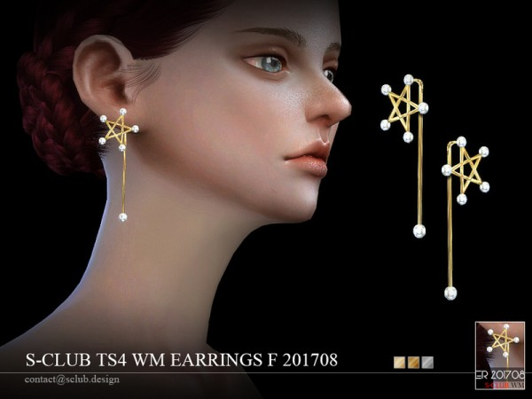 The Sims Resource: Earrings F 201708 by S club