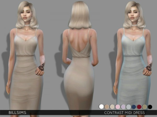 The Sims Resource: Contrast Midi Dress by Bill Sims