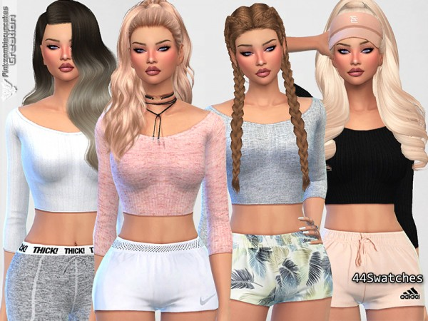 The Sims Resource: Cute Sporty Everyday Tops by Pinkzombiecupcakes • Sims 4 Downloads