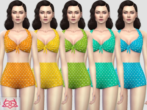 The Sims Resource: Pin up Swimwear 2 recolor by Colores Urbanos