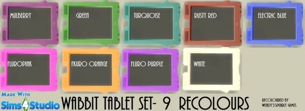 Mod The Sims: Wabbit Tablet in 9 Recolours by wendy35pearly