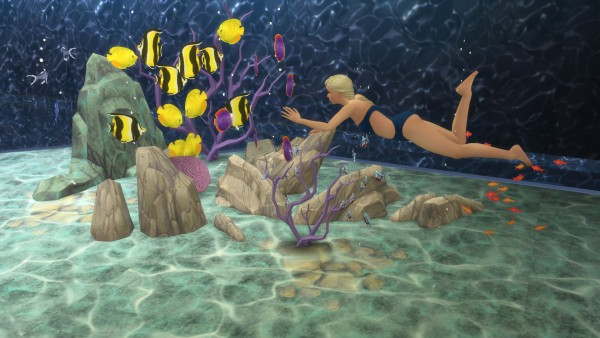 Mod the sims mermaid lake diving spot by snowhaze sims for Diving and fishing mural
