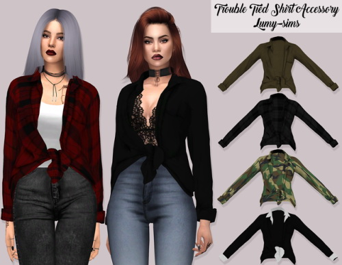 LumySims: Trouble Tied Shirt Accessory
