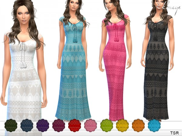 The Sims Resource: Crochet Maxi Dress by ekinege
