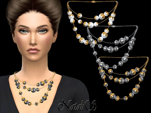The Sims Resource: Triple half pearl necklace by NataliS