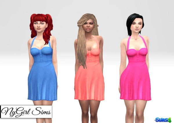 NY Girl Sims: Retro Halter Flare Dress Solids