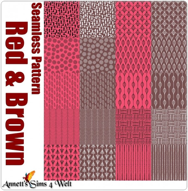 Annett`s Sims 4 Welt: Seamless Pattern Red and Brown