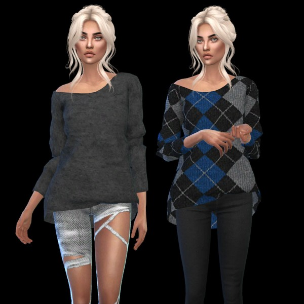 Leo 4 Sims: Marigold offshoulder sweater recolor