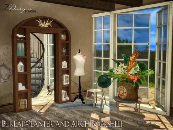 Sims 4 Designs Burlap Bag Planter And Arch Shelf Sims 4