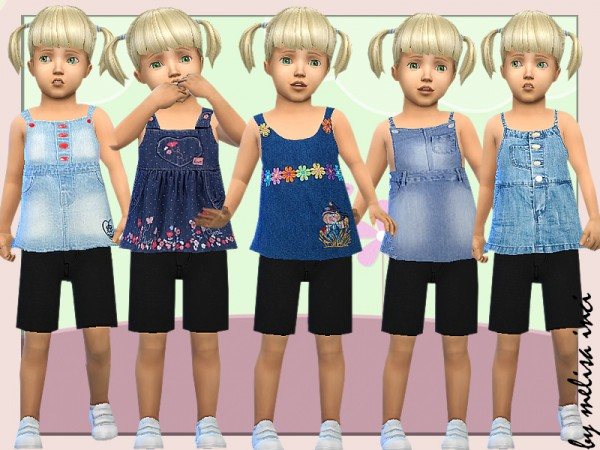 The Sims Resource: Toddler Denim Pinafore Dress by melisa inci