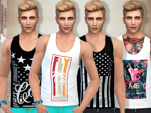 The Sims Resource: Tank Top Collection 09 Summer Time by Pinkzombiecupcakes