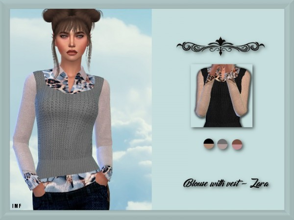 The Sims Resource: Blouse with vest   Zara by IzzieMcFire