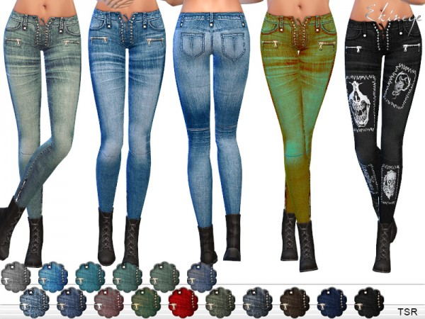 The Sims Resource: Lace Up Skinny Jeans by ekinege