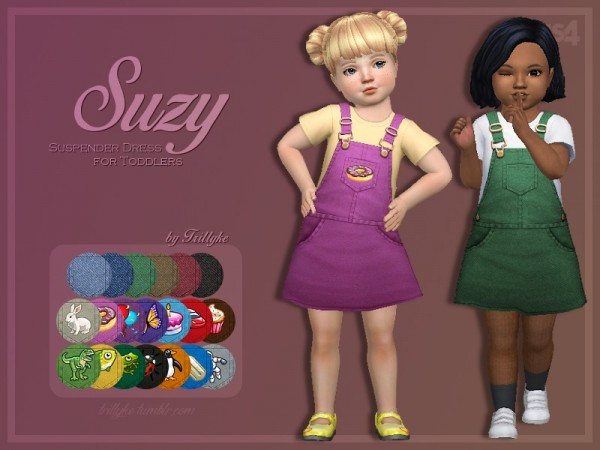 The Sims Resource: Suzy Suspender Dress for Toddlers by Trillyke