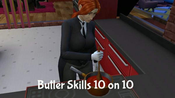 Mod The Sims: Butler Skills 10 on 10 by Outburstt