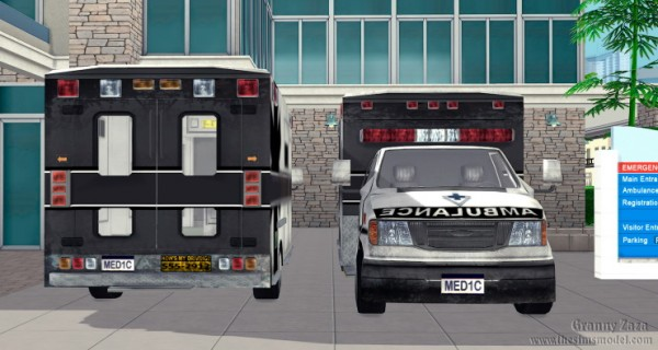 The Sims Models: Ambulance and Hospital sign by Granny Zaza