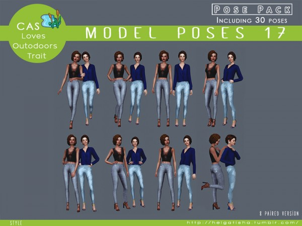 The Sims Resource: Model poses 17 Posepack by HelgaTisha
