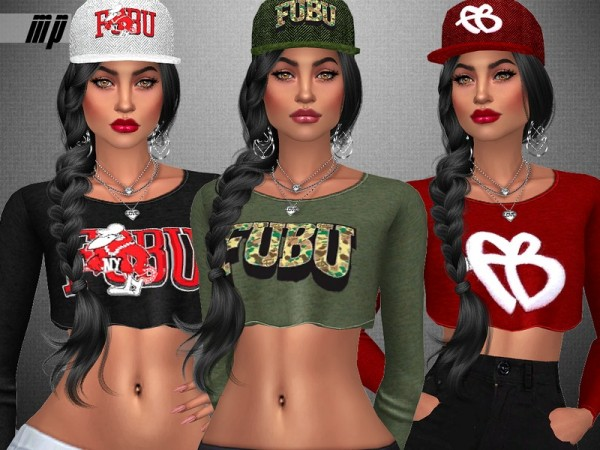 The Sims Resource: FUBU Collection Crop Tops by MartyP