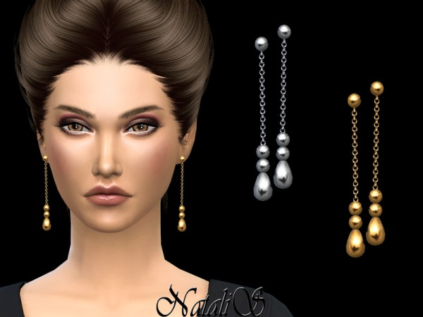 The Sims Resource: Beaded chain drop earrings by NataliS
