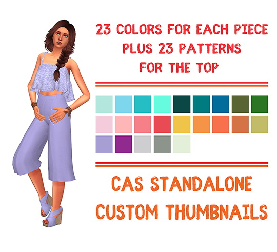 Simsworkshop: Summer Flare Sleeveless Top and Camille Wide Leg Pants Short Recolored by Sympxls