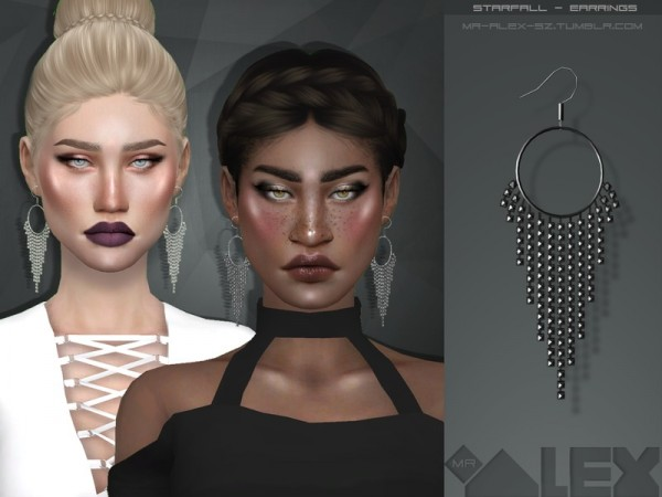 The Sims Resource: Starfall earrings by Mr.Alex