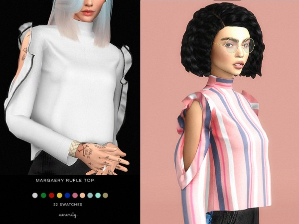 The Sims Resource: Margaery Ruffle Top by serenity cc