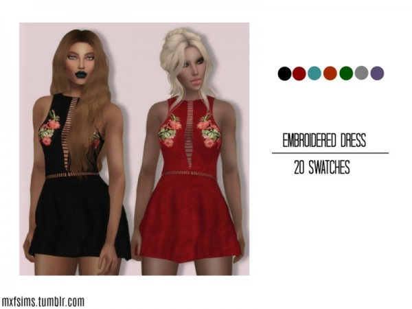 The Sims Resource: Embroidered Dress by mxfsims