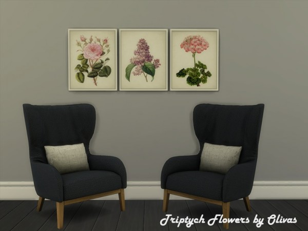 The Sims Resource: Triptych Flowers by Olivas