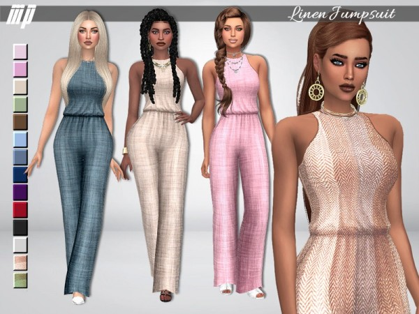 The Sims Resource: Linen Jumpsuit by MartyP