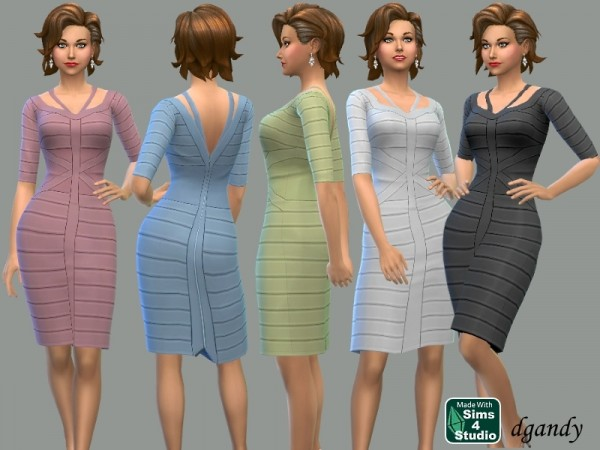The Sims Resource: Ribboned Pencil Dress by dgandy