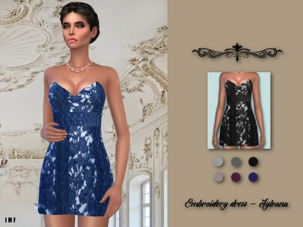 The Sims Resource: Embroidery Dress   Sylvana by IzzieMcFire
