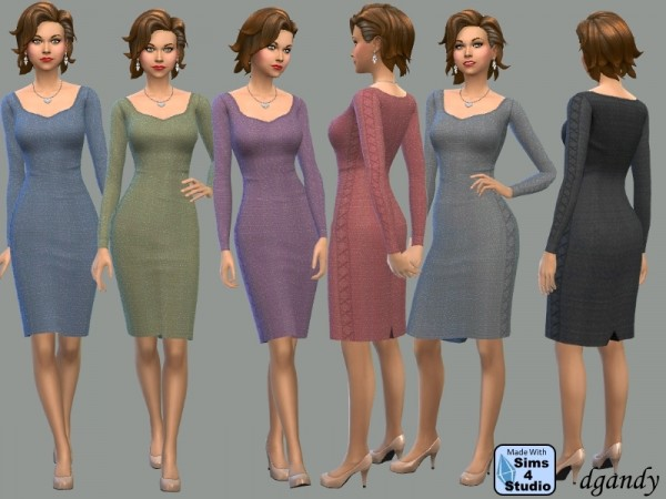 The Sims Resource: Pencil Dress with Laced Sides by dgandy