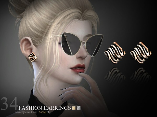 The Sims Resource: Earrings N34 by S Club