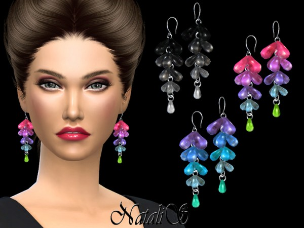 The Sims Resource: Rainbow Gemstone Drop Earrings by NataliS