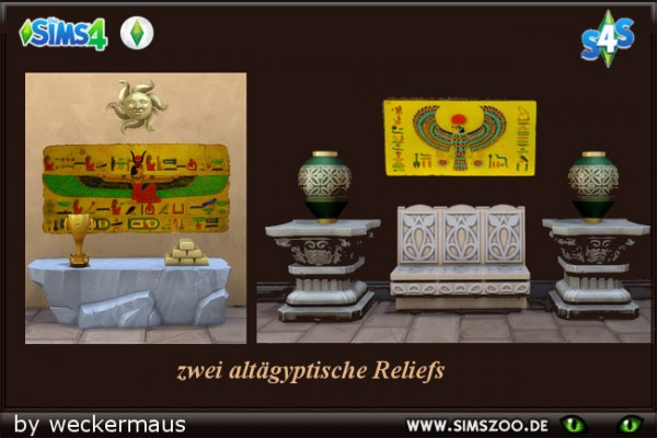 Blackys Sims 4 Zoo: Egyptian Reliefs by weckermaus