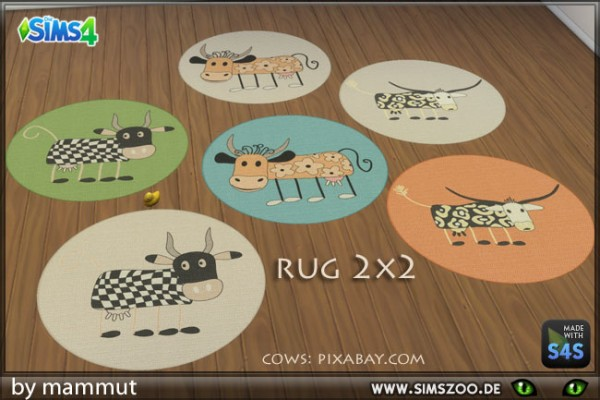 Blackys Sims 4 Zoo: Cow carpet 2x2 by mammut