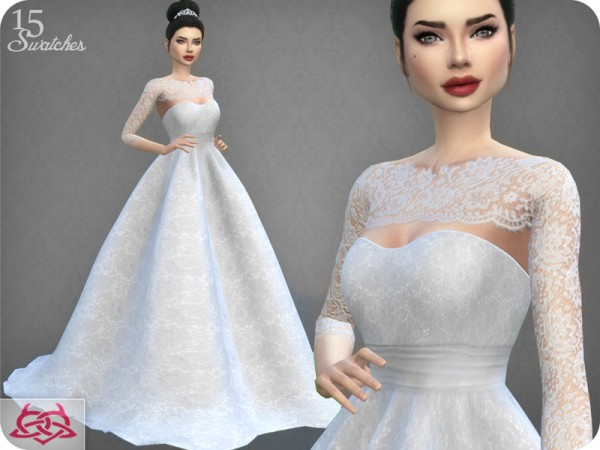 The Sims Resource: Wedding Dress 7 recolor 4 by Colores Urbanos