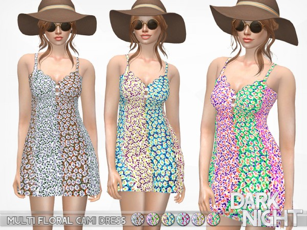 The Sims Resource: Multi Floral Cami Dress by DarkNighTt