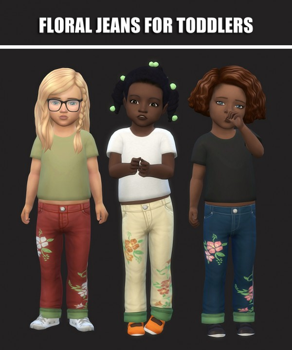 Simsworkshop: Floral Jeans For Toddlers by maimouth