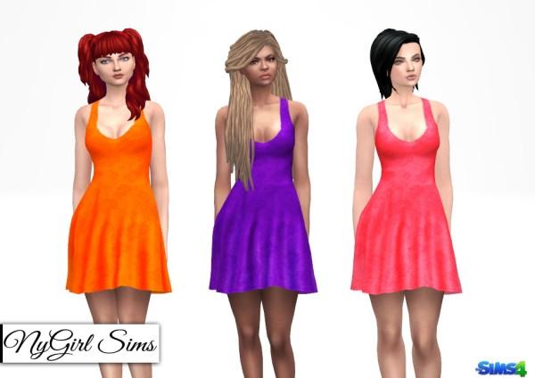 NY Girl Sims: Lace Overlay Tank Flare Dress