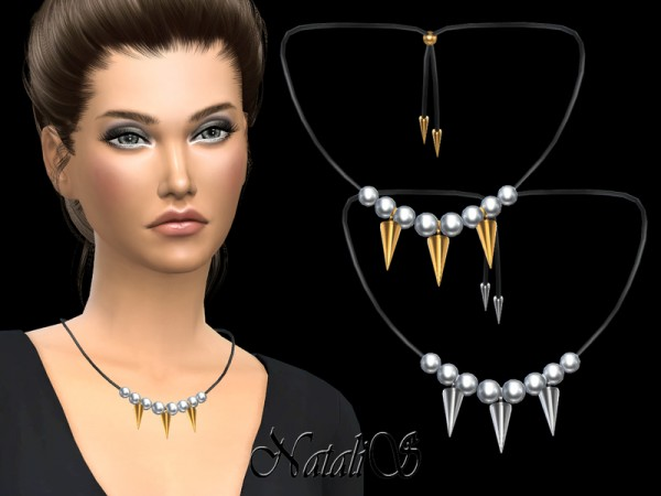 The Sims Resource: Pearls and spikes necklace by NataliS