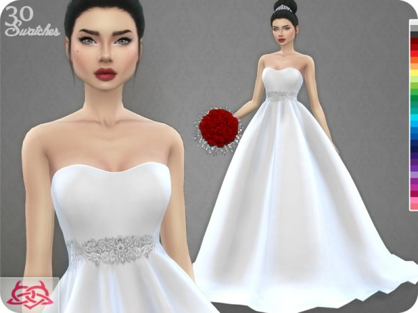 The Sims Resource: Wedding Dress 7 recolor 2 by Colores Urbanos • Sims 4 Downloads