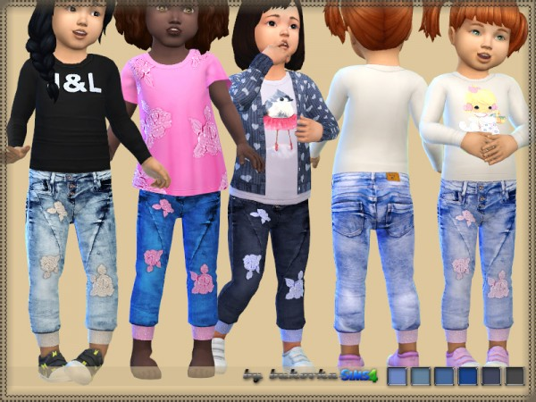 The Sims Resource: Denim Rose jeans by bukovka