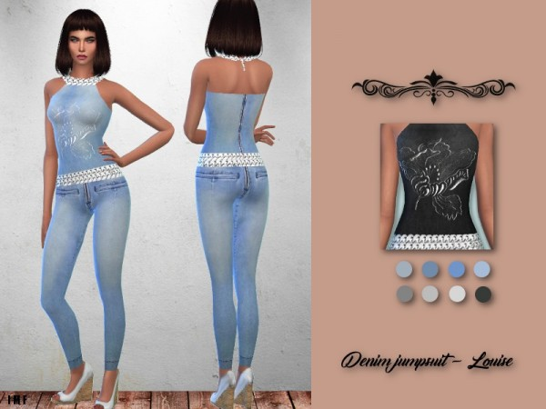 The Sims Resource: Denim Jumpsuit   Louise by IzzieMcFire
