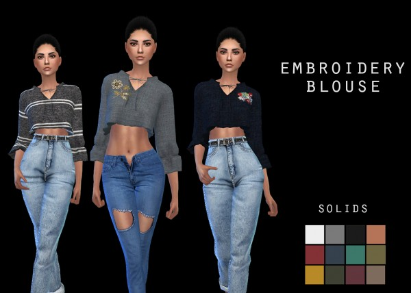 Leo 4 Sims: Embroidery Blouse recolored