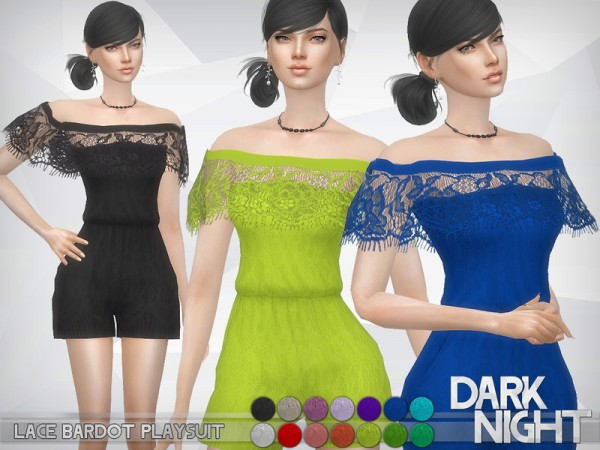 The Sims Resource: Lace Bardot Playsuit by DarkNighTt