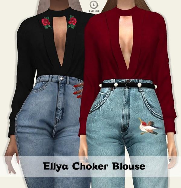 LumySims: Ellya Choker Blouse